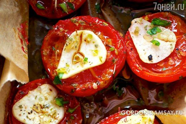 Холодная закуска из помидоров с чесноком